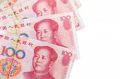 picture of yuan  - Chinese 100 yuan banknotes isolated on white - JPG