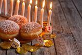 stock photo of menorah  - Jewish holiday hannukah symbols  - JPG