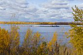 pic of barge  - Photo of autumn landscape with barge in autumn - JPG