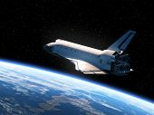 image of orbit  - Space Shuttle Orbiting Earth - JPG