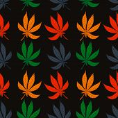 image of marijuana leaf  - Seamless pattern of leaf marijuana different colors - JPG