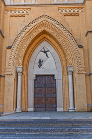 stock photo of stanislaus church  - Decorated portal of side entrance of Cathedral Basilica of Saint Stanislaus Kostka  - JPG