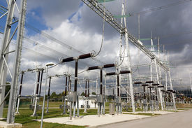 image of electricity pylon  - Electricity substation with electrical power equipment.