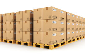 pic of packing  - Storage warehouse with rows of stacked cardboard boxes with packed goods on wooden shipping pallets isolated on white background - JPG