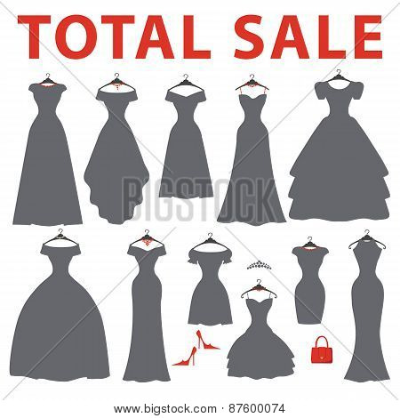 Silhouette of dresses.Total sale