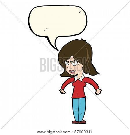 cartoon mean woman with speech bubble