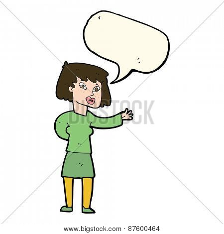 cartoon woman explaining with speech bubble
