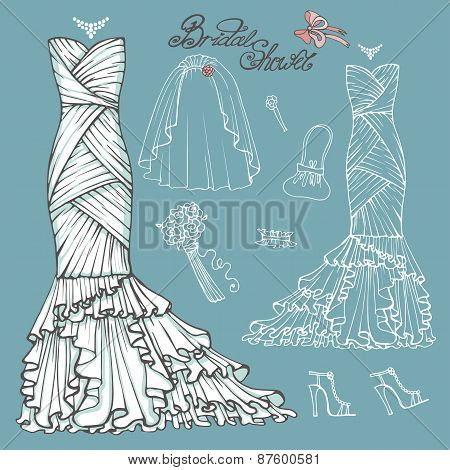 Bridal shower Dress,accessories set.Vintage vector