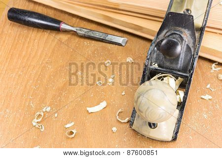 Carpenter Tools In Wood Table