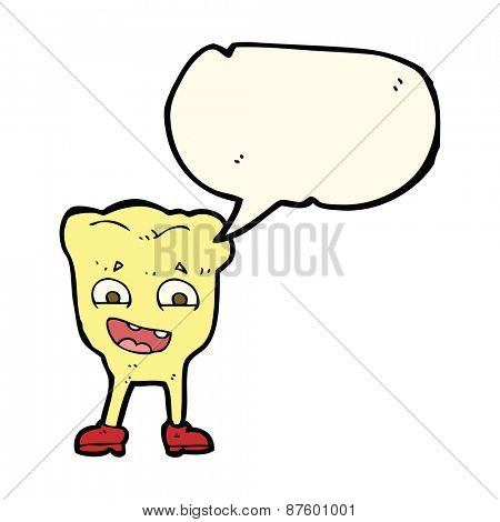 cartoon yellow tooth with speech bubble