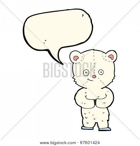 cartoon teddy polar bear cub with speech bubble