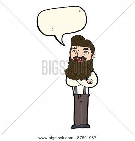 cartoon happy man with beard with speech bubble