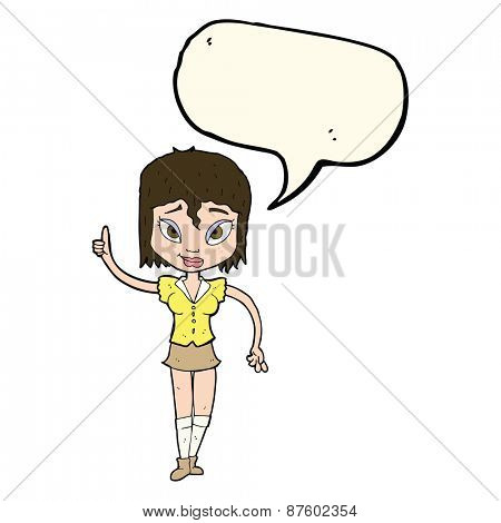 cartoon woman making point with speech bubble