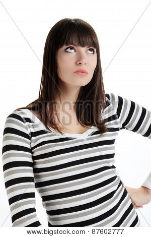woman thinking and worried that looks upwards