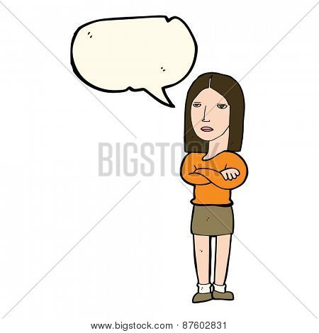 cartoon woman with folded arms with speech bubble