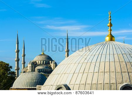 Blue Mosque (Sultan Ahmet Mosque) and cupolas seen from Hagia Sophia