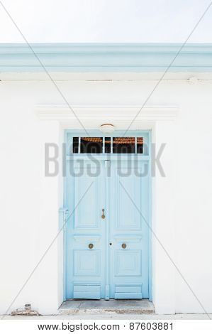 Wooden light blue door