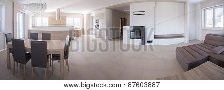 Panorama Of Elegant House Interior