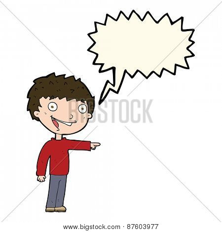 cartoon happy boy laughing with speech bubble
