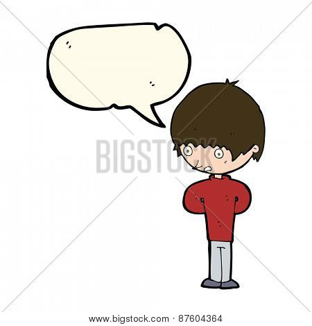 cartoon nervous boy with speech bubble