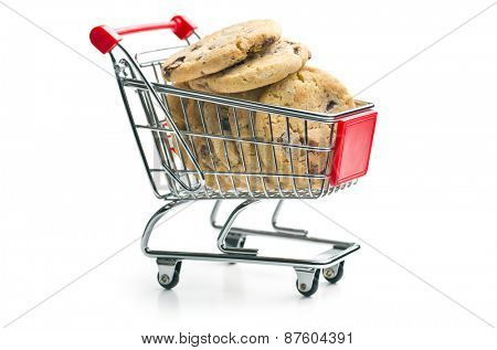 the chocolate cookies in shopping cart