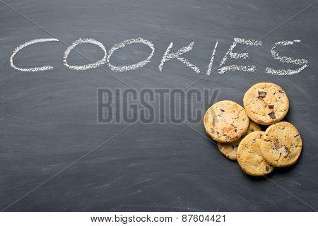 the chocolate cookies on chalkboard