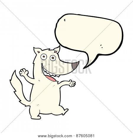 cartoon happy wolf with speech bubble