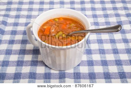 Vegetable Beef Soup In White Mug