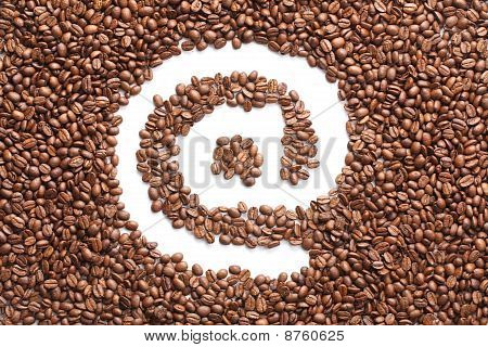 Email Symbol Made From Coffee Beans