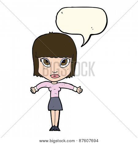 cartoon woman shrugging with speech bubble