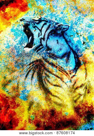 Painting Abstract Tiger Collage On Color Abstract  Background,  Rust Structure, Wildlife Animals