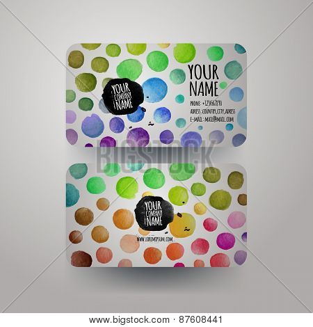 watercolor colorfull dots paint card design