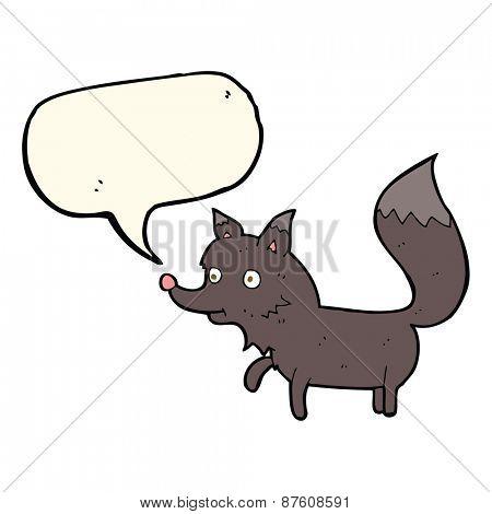cartoon wolf cub with speech bubble