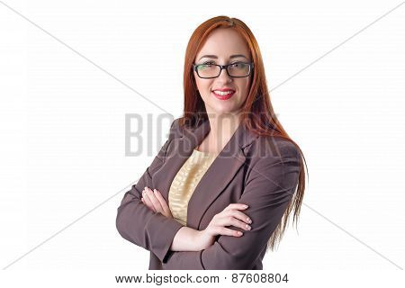 Portrait Of Beautiful Redhead Business Woman Wearing Glasses