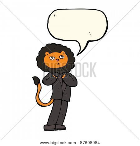 cartoon lion businessman with speech bubble