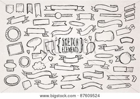 Hand drawn sketch hand drawn elements