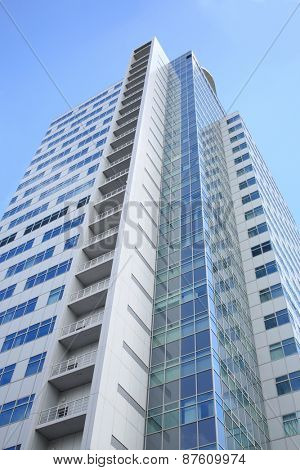 MOSCOW - JUN 19, 2014: The facade of modern high-rise buildings business center Profiko in Moscow, bottom view