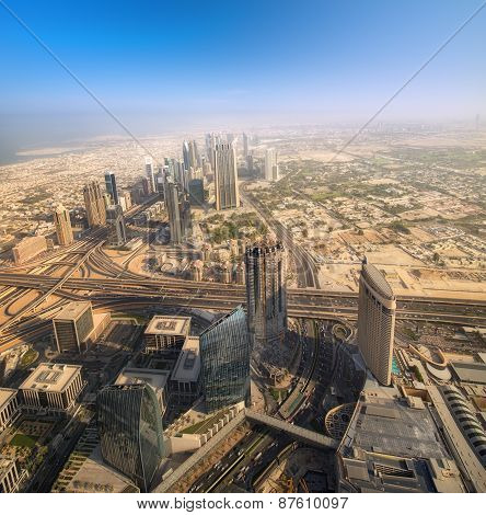 View at Sheikh Zayed Road skyscrapers