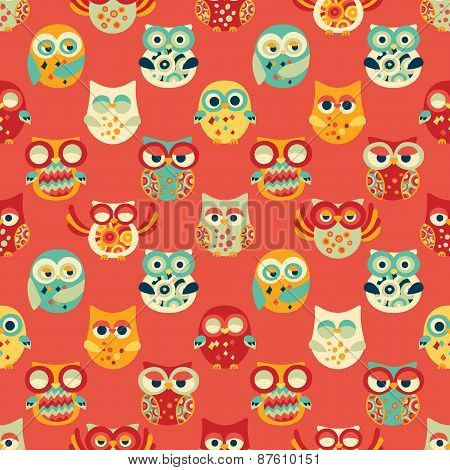 Red Seamless Pattern With Owls