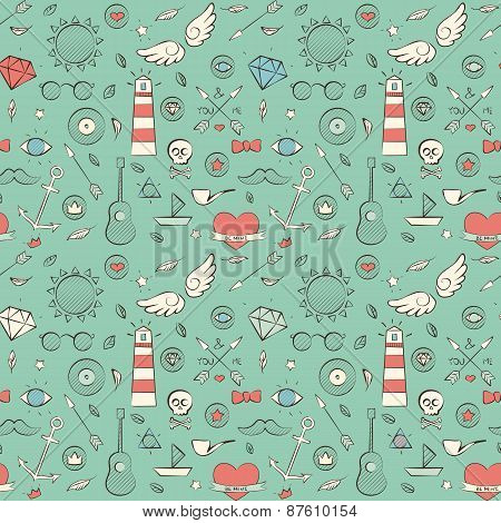 Seamless Pattern With Hand Drawn Vintage Sea Illustrations