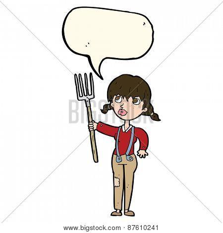 cartoon farmer girl with speech bubble