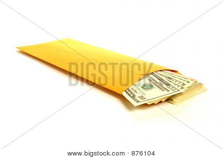 Bribery Hush Money with Dollar Bills in Envelope