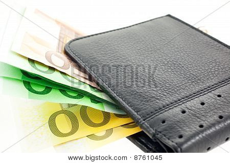 Black Leather Wallet With Euro Notes. Horizontal Shot