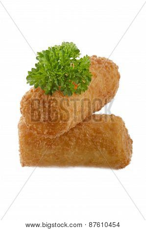 Croquettes With Parsley On Isolated Background