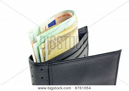 Black Leather Wallet With Euro Notes