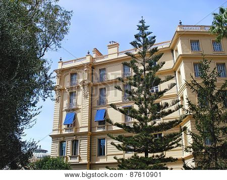 Beaulieu-sur-Mer, France - August 27, 2014: hotel Bristol on the street  Lit. Colonelli