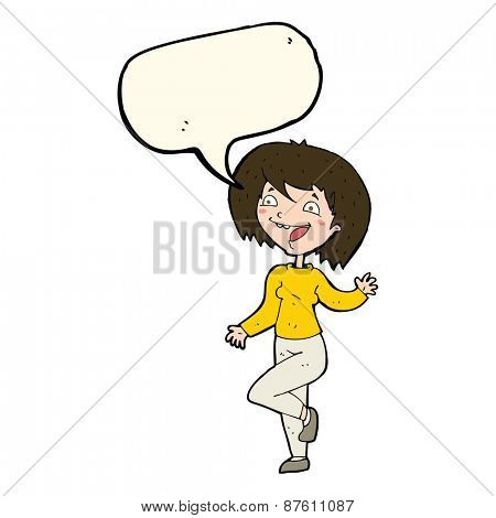 cartoon laughing woman with speech bubble