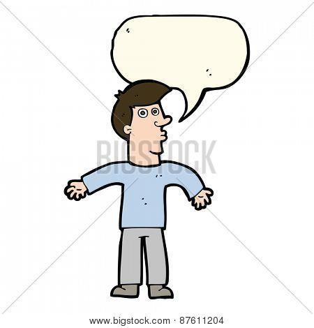 cartoon man shrugging shoulders with speech bubble