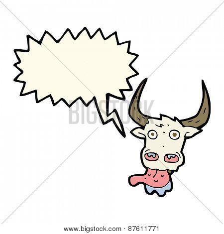 cartoon cow face with speech bubble