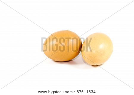 Fresh Brown Eggs on white background